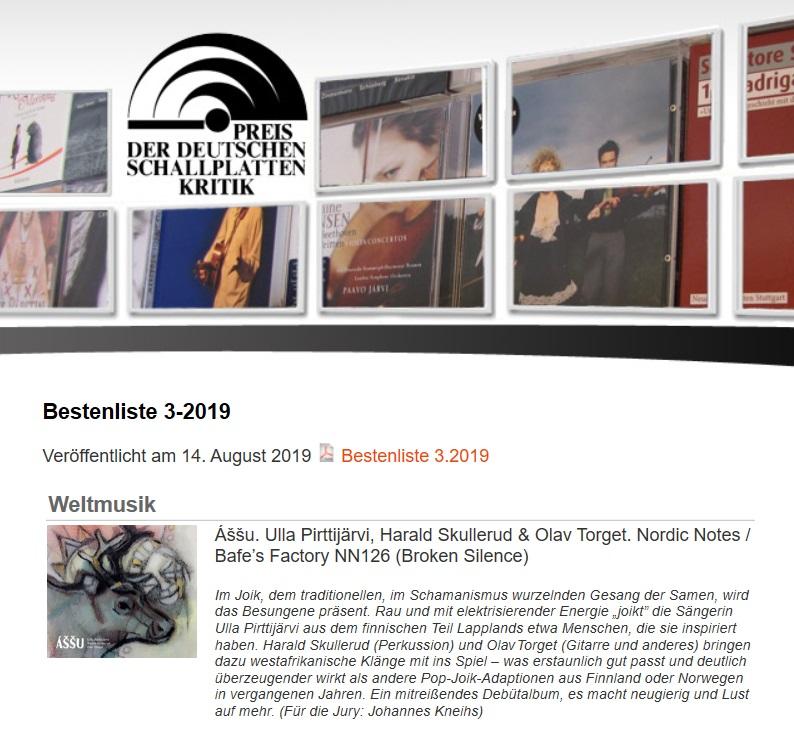 Preis der deutschen Schallplattenkritik (Germany), 14.8.2019