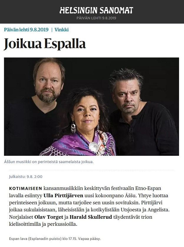 Helsingin Sanomat (Finland), 9.8.2019