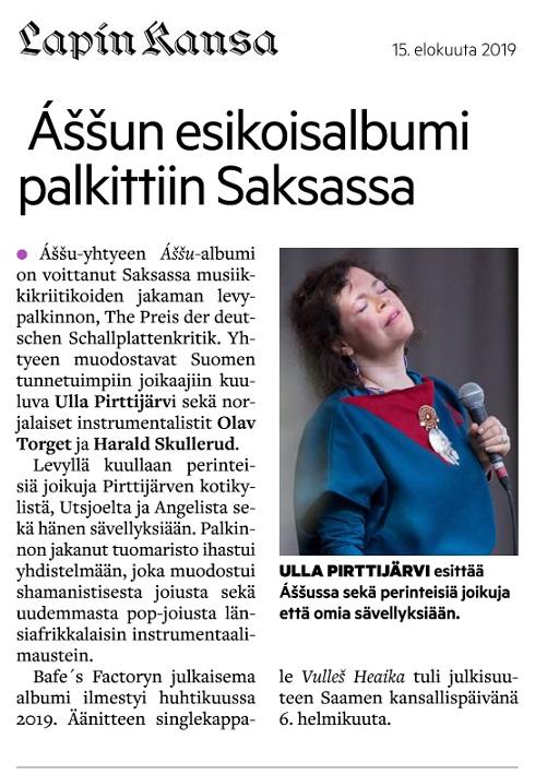 Lapin Kansa (Finland), 15.8.2019