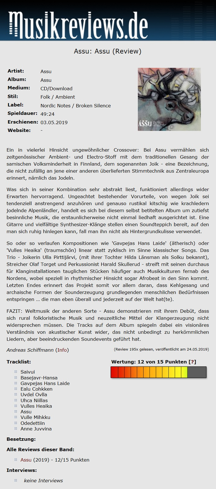 Musikreviews.de (Germany), 24.5.2019