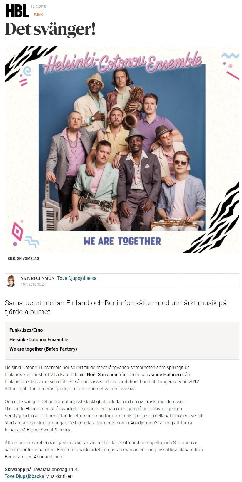 Hufvudstadsbladet (Finland), 11.4.2018