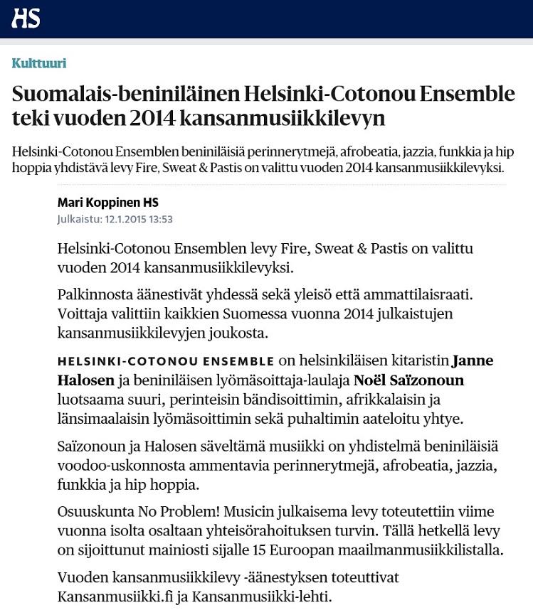 Helsingin Sanomat (Finland), 12.1.2015