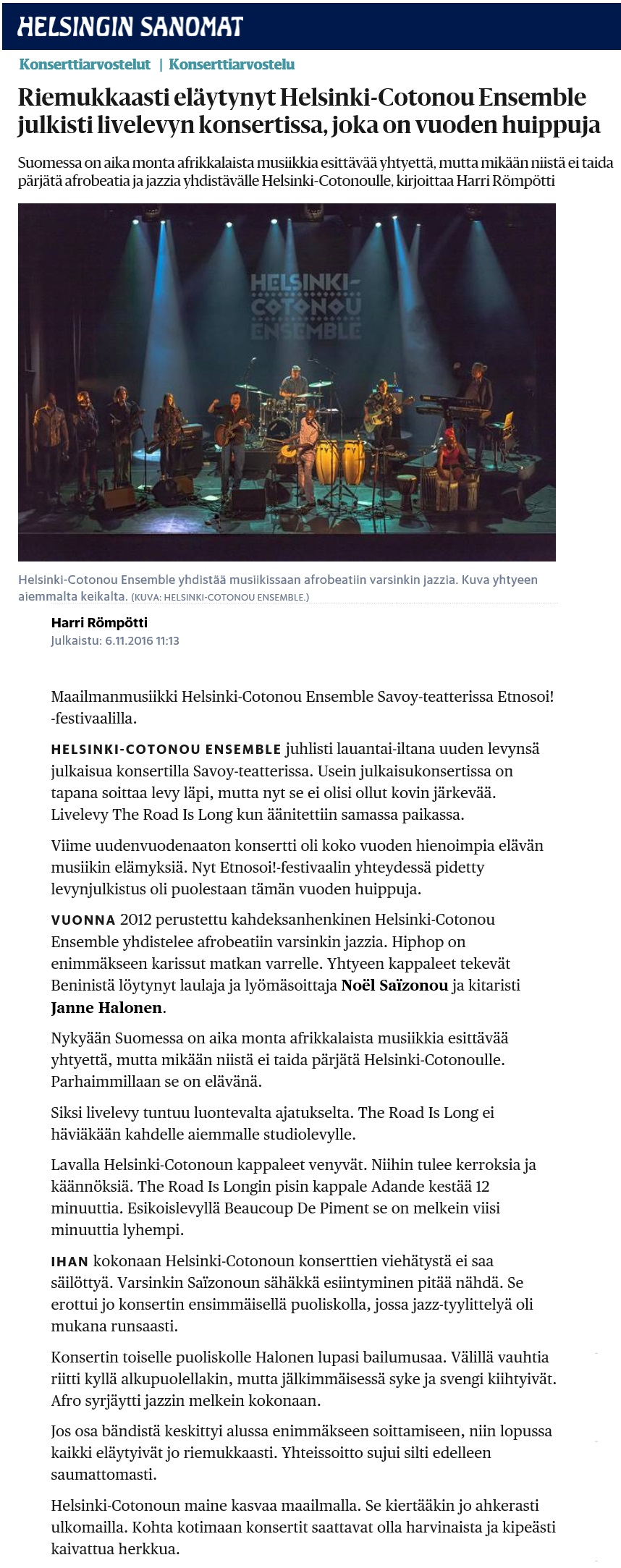 Helsingin Sanomat (Finland), 6.11.2016
