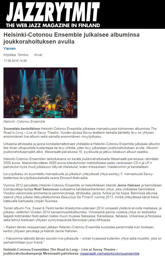 Jazzrytmit (Finland), 17.9.2016