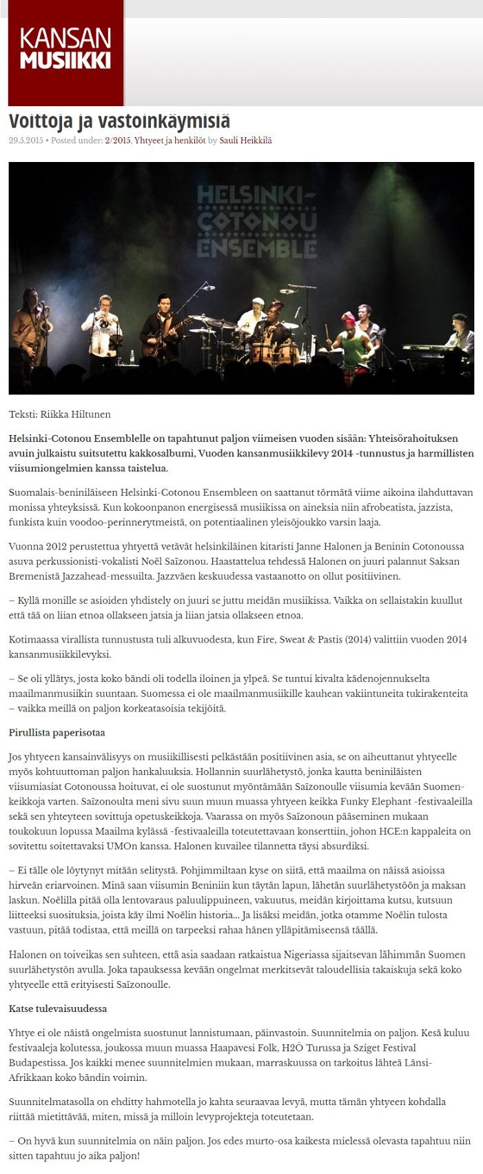 Kansanmusiikkilehti, (Finland), 29.5.2015