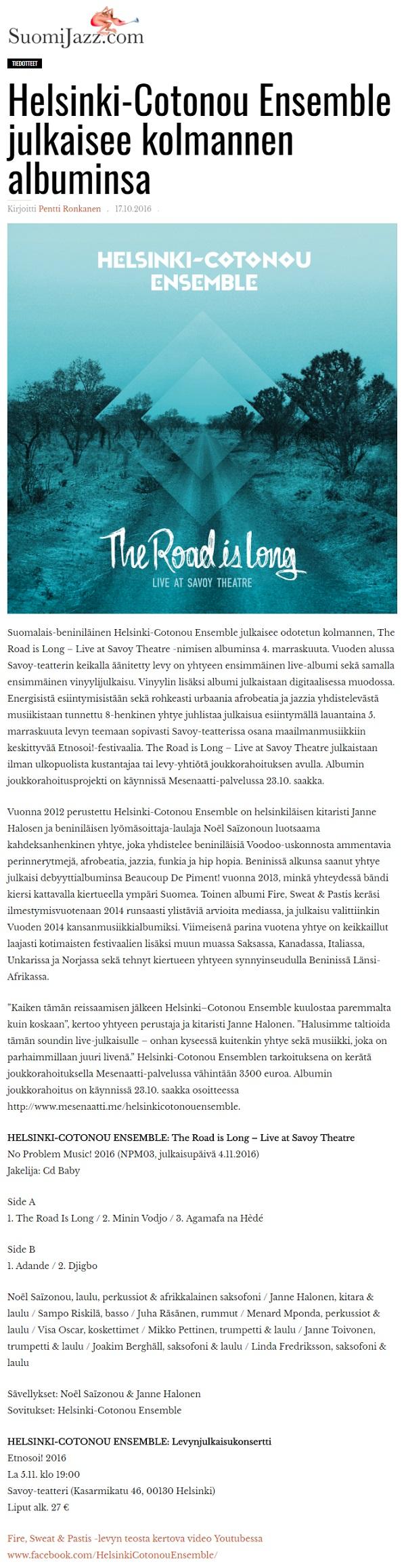SuomiJazz.com (Finland) 17.10.2016