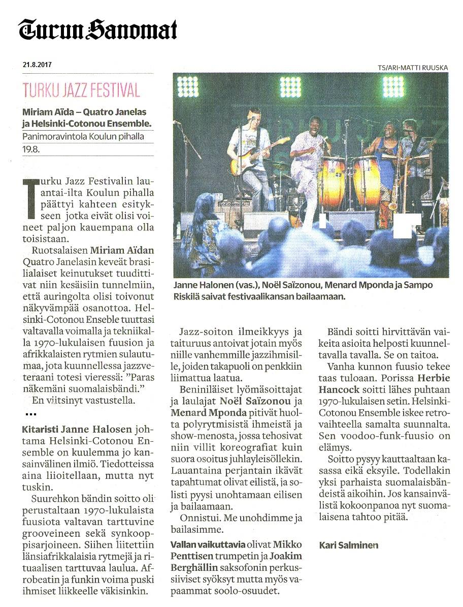Turun Sanomat (Finland), 21.8.2017