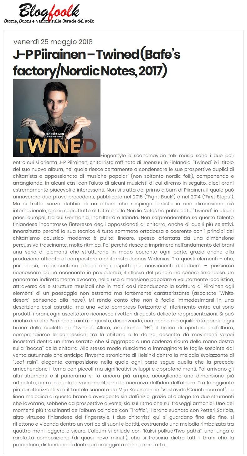 Blogfoolk (Italy), Numero 359 del 25 Maggio 2018