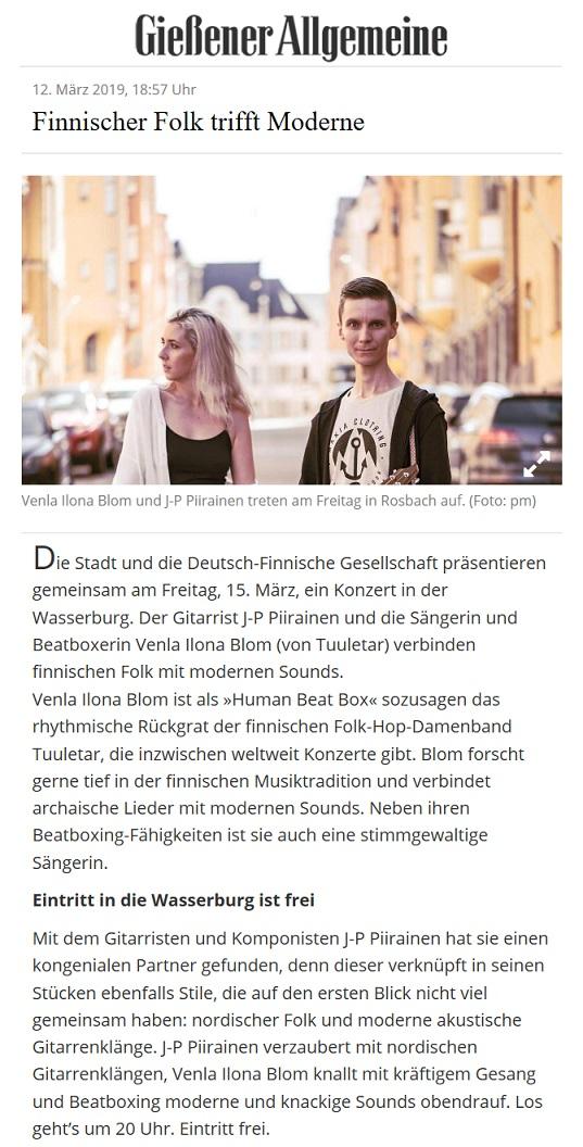 Giessener Allgemeine (Germany), 31.1.2019