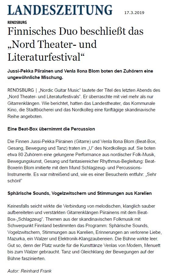 Schleswig-Holsteinische Landeszeitung (Germany), 17.3.2019