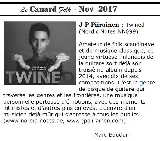Le Canard Folk, (Belgium), Nov 2017