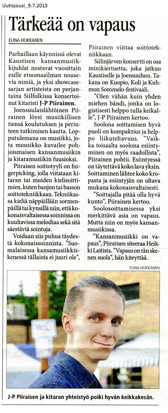 Uutisjousi (Finland), 9.7.2015
