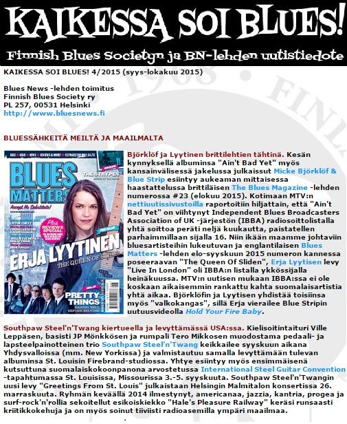 Bluesnews.fi -artikkeli syys-lokakuu 2015