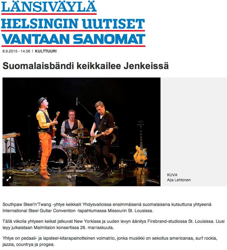 Helsingin Uutiset, Länsiväylä ja Vantaan Sanomat 8.9.2015