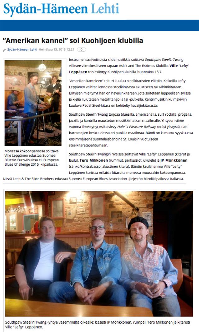 Sydän-Hämeen Lehti 13.7.2015