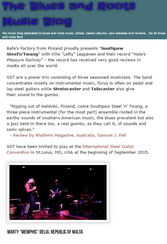 The Blues and Roots Music Blog (Malta), March 2015
