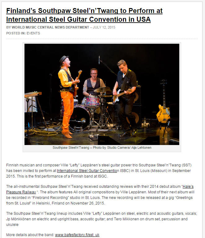 World Music Central (North Carolina, USA), July 2015