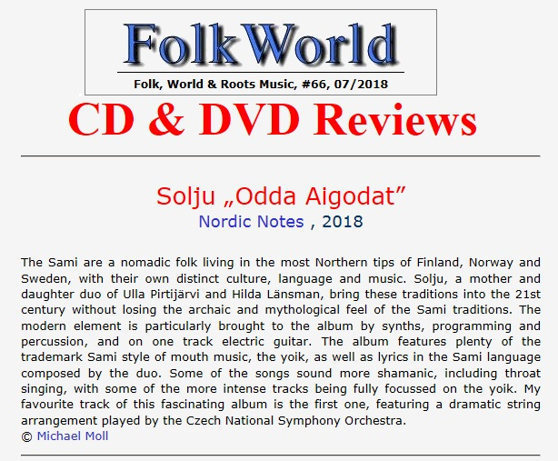 FolkWorld (Germany), #66 07/2018