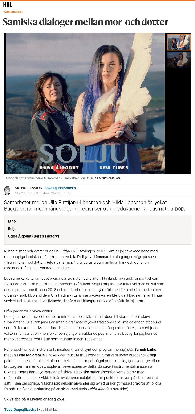 Hufvudstadsbladet (Finland), 24.4.2018