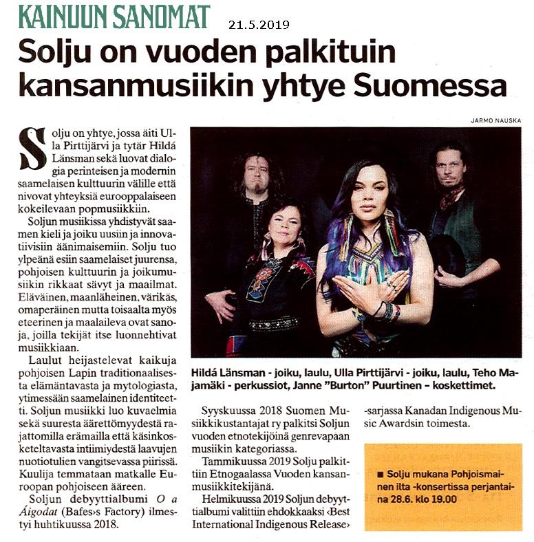 Kainuun Sanomat (Finland), 21.5.2019