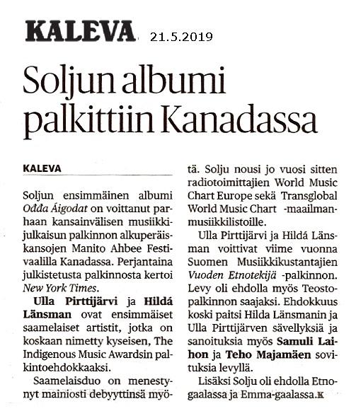 Kaleva (Finland), 21.5.2019