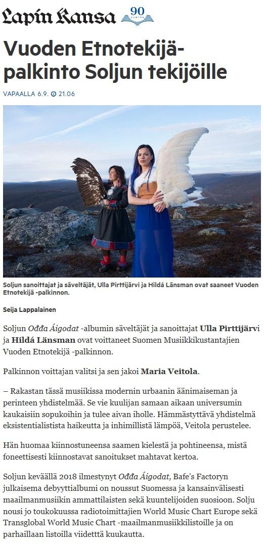 Lapin Kansa (Finland), 6.9.2018