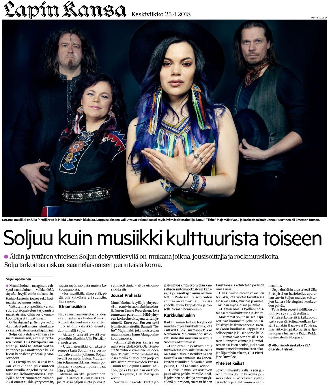 Lapin Kansa (Finland), 25.4.2018