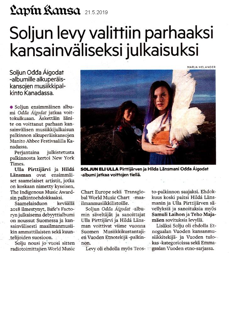 Lapin Kansa (Finland), 21.5.2019