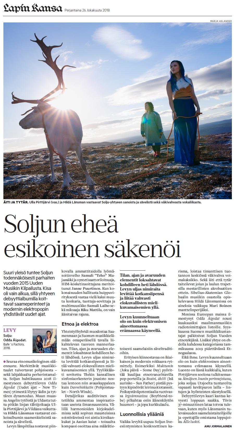 Lapin Kansa (Finland), 26.10.2018