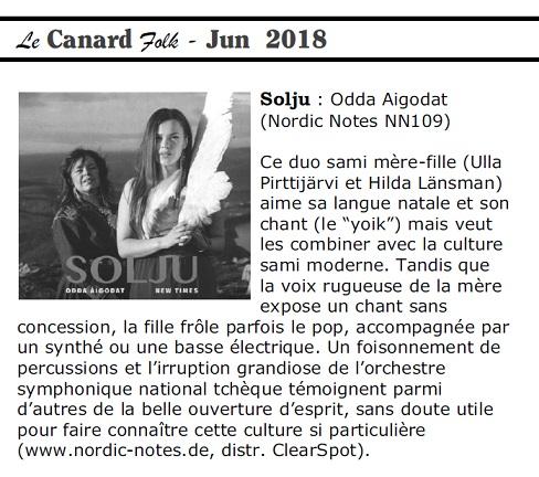 Le Canard Folk (Belgium), Jun 2018