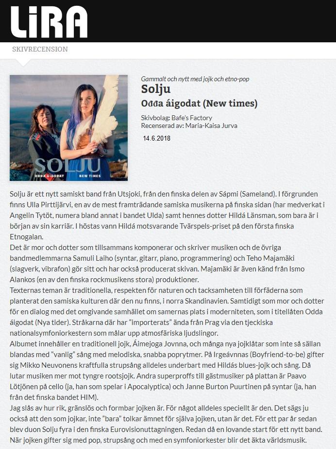 Lira Musikmagasin (Sweden), 14.6.2018