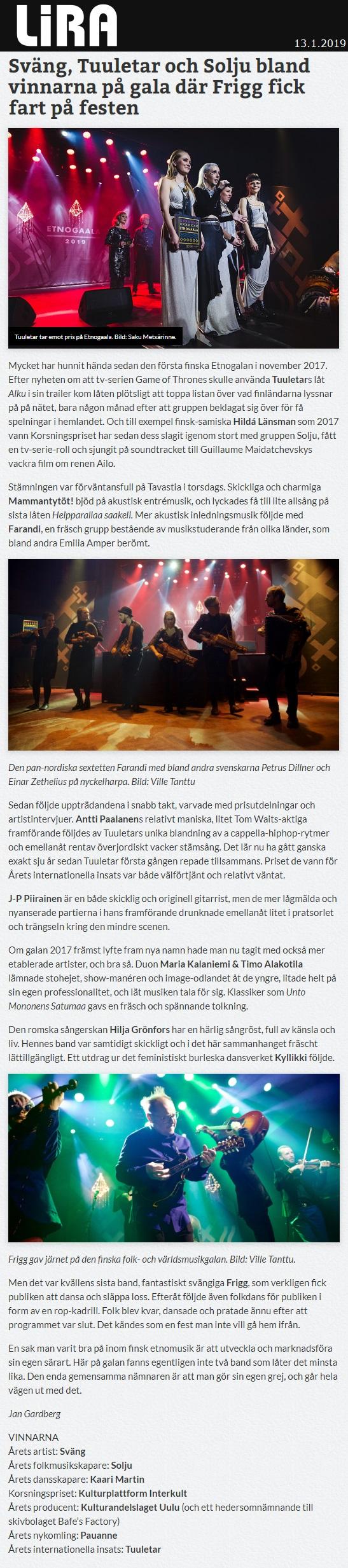 Lira Musikmagasin (Sweden), 13.1.2019