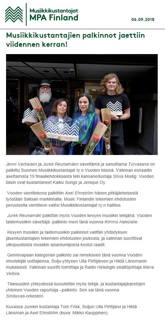 Suomen Musiikkikustantajat (Finland), 6.9.2018