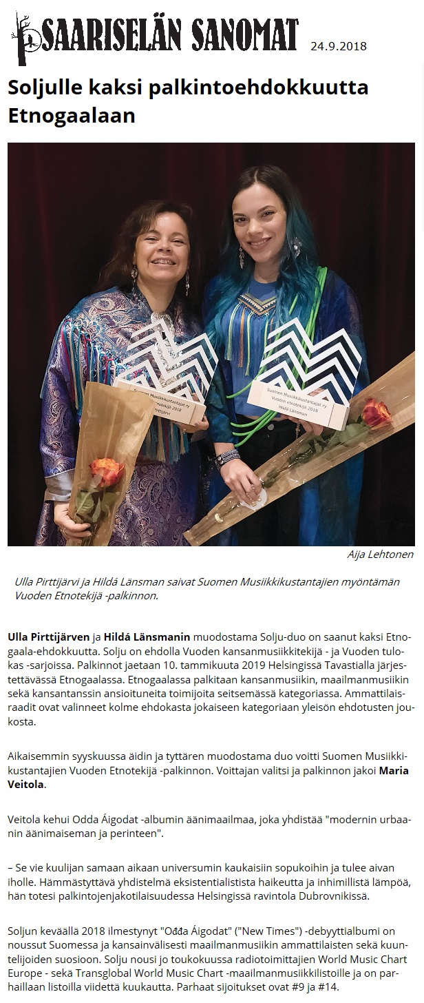 Saariselän Sanomat (Finland), 24.9.2018