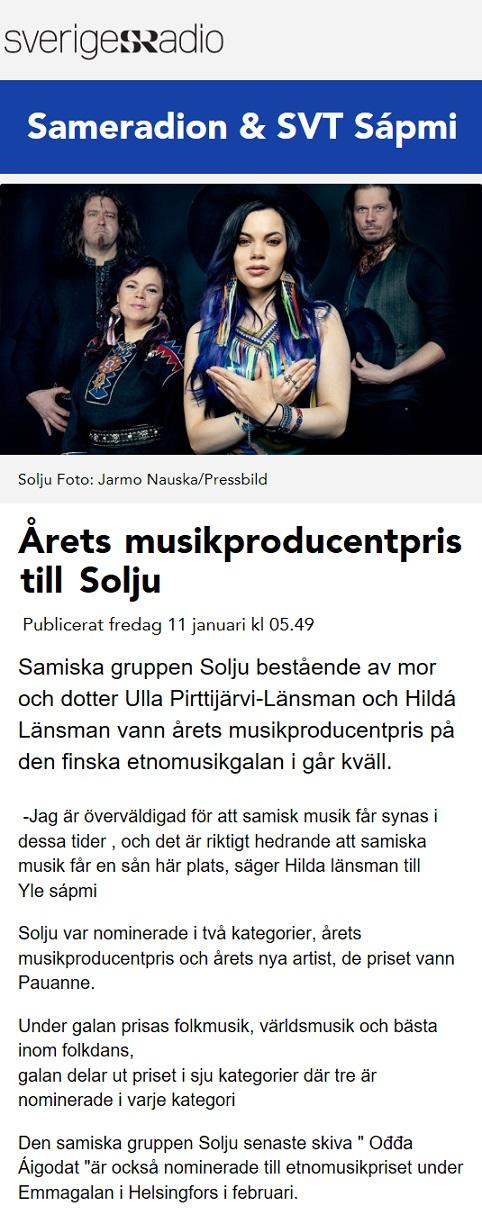 Sveriges Radio, Sameradion (Sweden), 11.1.2019