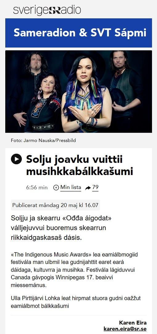 Sveriges Radio, Sameradion & SVT Sápmi (Sweden), 20.5.2019