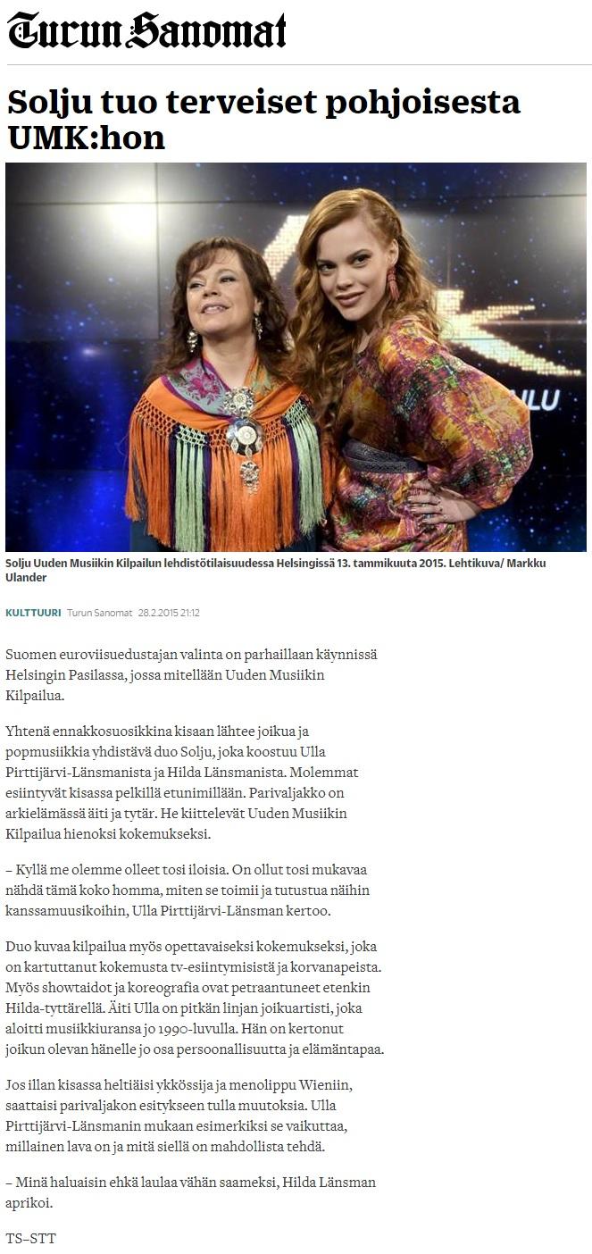 Turun Sanomat (Finland), 28.2.2015