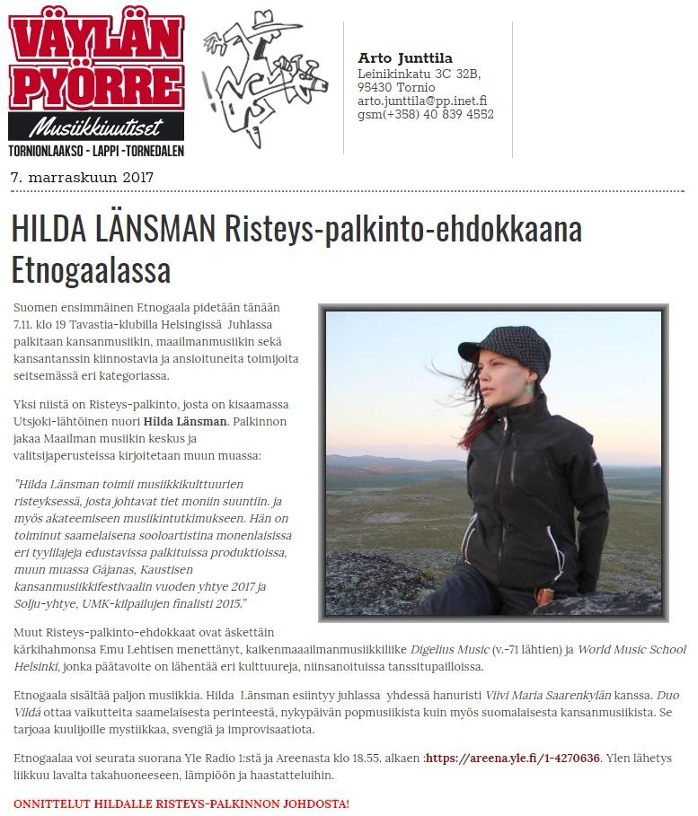 Väylän Pyörre (Finland), 7.11.2017