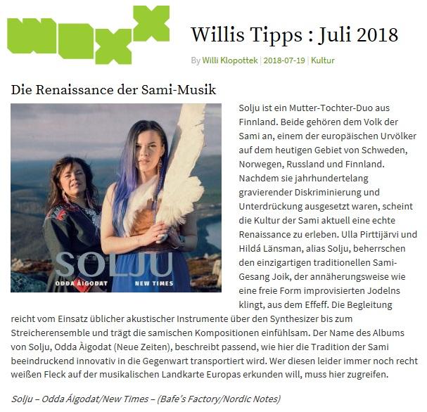 Woxx, Willis Tipp: Juli 2018 (Luxembourg), 19.7.2018