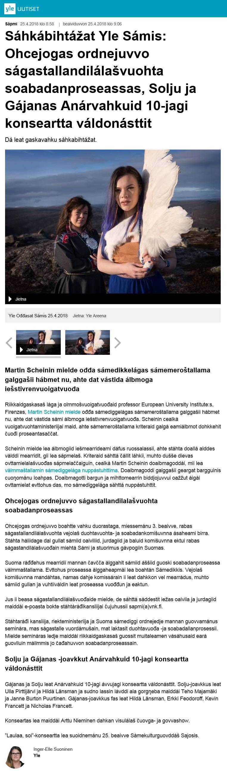 Yle Ođđasat Sámis (Finland), 25.4.2018