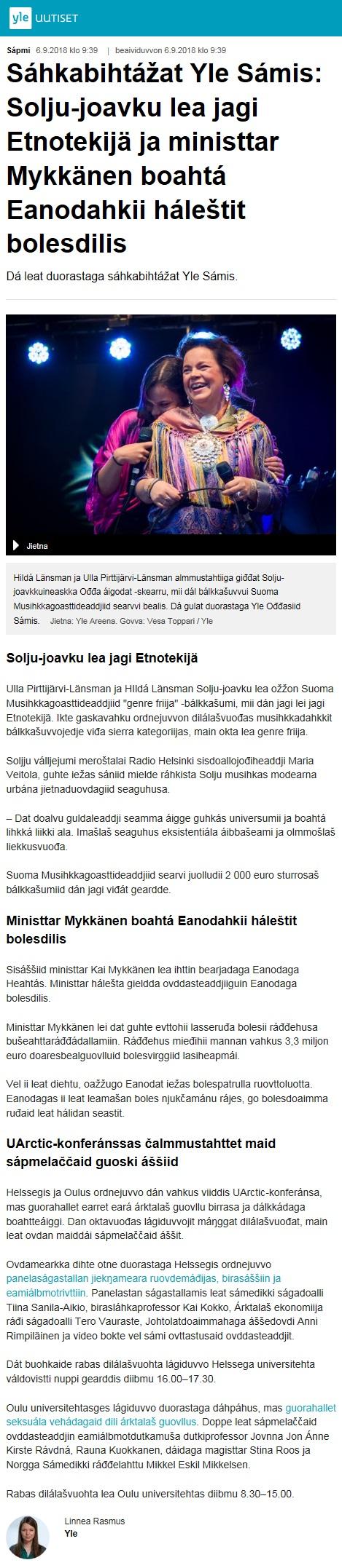 Yle Sàpmi (Finland), 6.9.2018