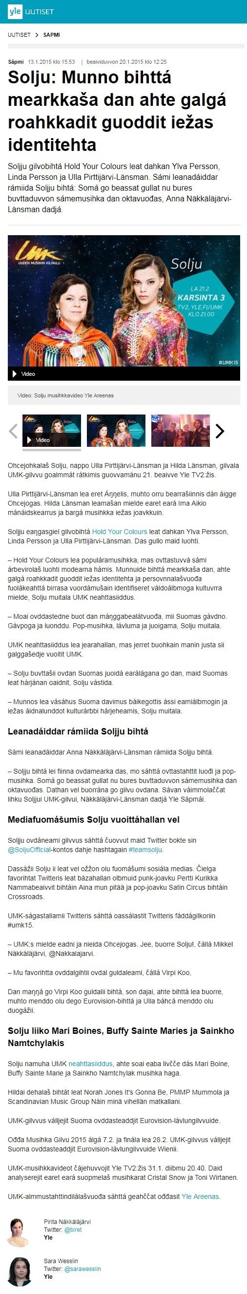 Yle Sápmi, Solju: Munno bihttá mearkkaša dan ahte galgá roahkkadit guoddit iežas identitehta (Finland), 13.1.2015