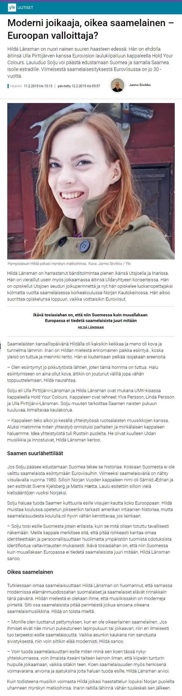 Yle uutiset (Finland), 11.2.2015