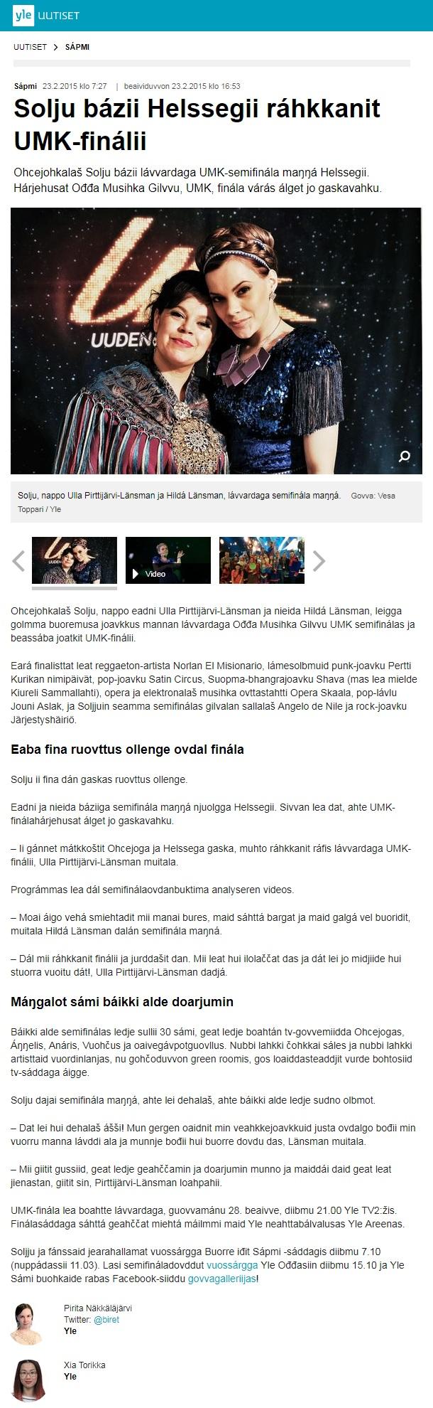 Yle Sápmi, Solju bázii Helssegii ráhkkanit UMK-finálii, (Finland), 23.2.2015