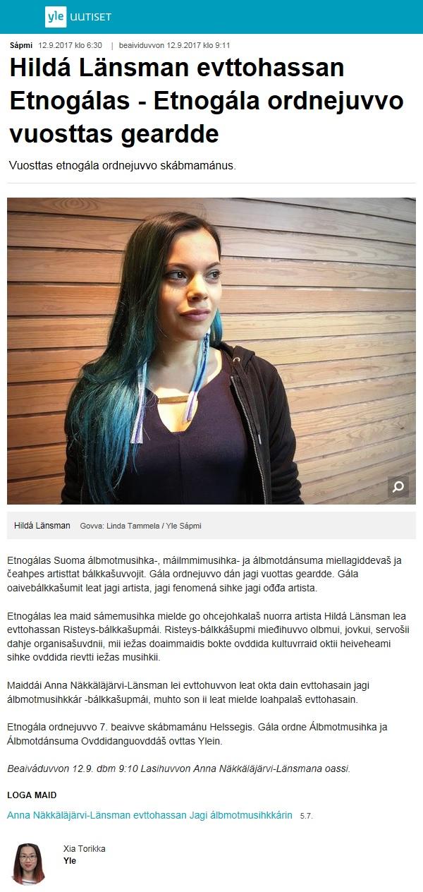 Yle Sápmi, Solju vuosttaš skearru olggos boahtte jagi – Yle Sápmi, Hildá Länsman evttohassan Etnogálas - Etnogála ordnejuvvo vuosttas geardd (Finland), 12.9.2017