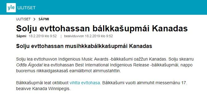 Yle Sápmi (Finland), 18.2.2019