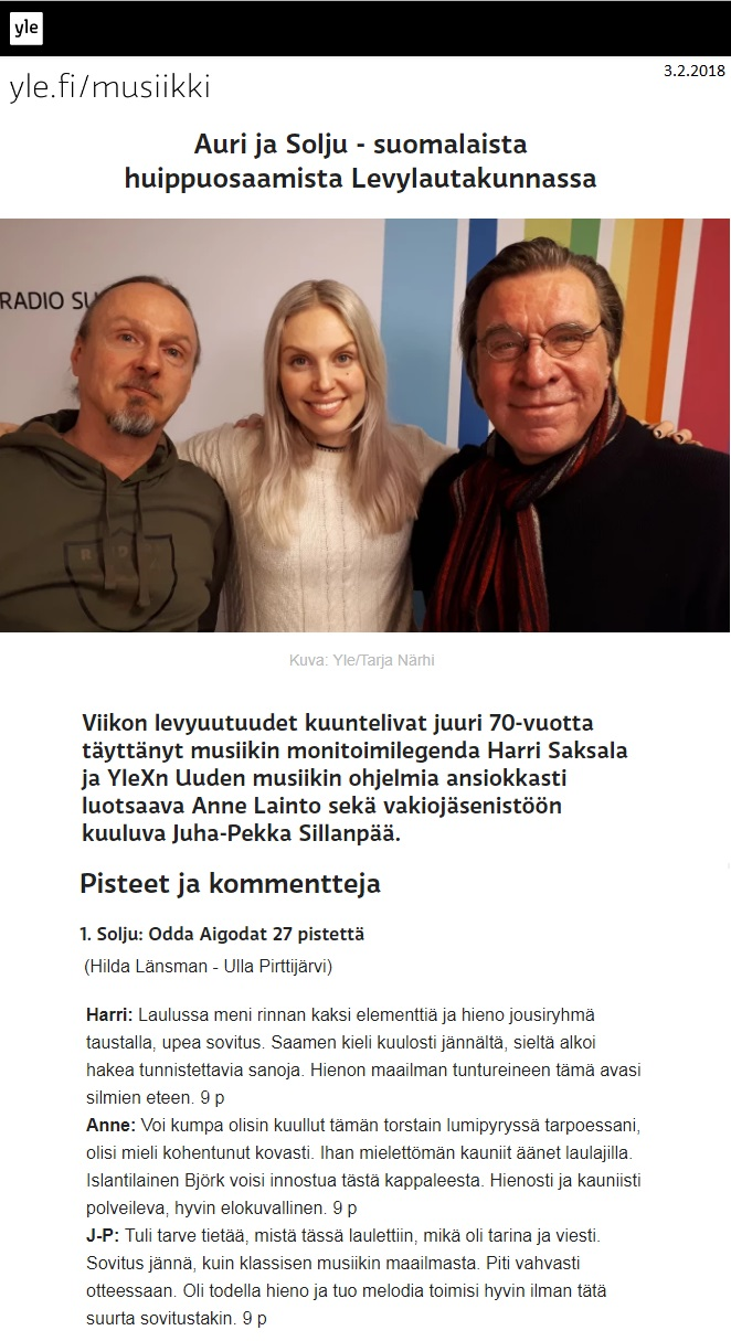Yle, Levylautakunta (Finland), 3.2.2018