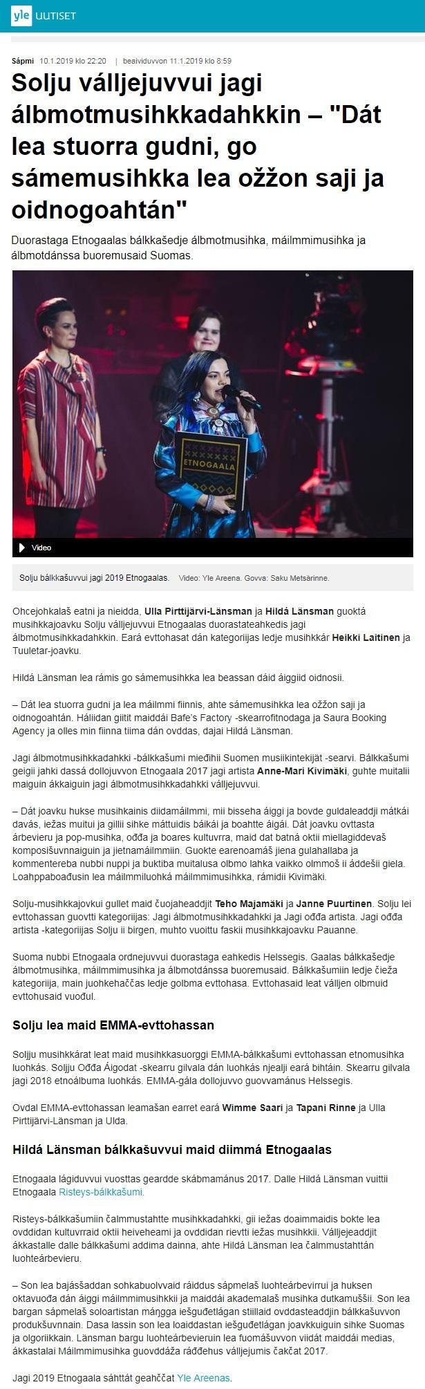 Yle Sápmi (Finland), 10.1.2019