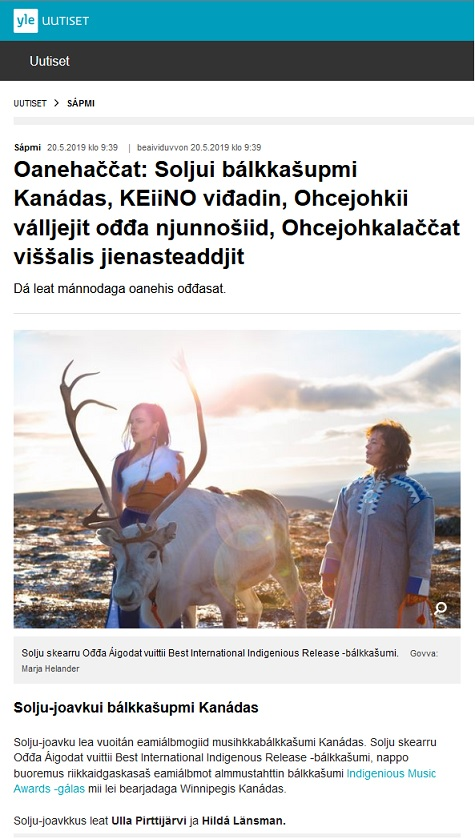 Yle Sápmi (Finland), 20.5.2019