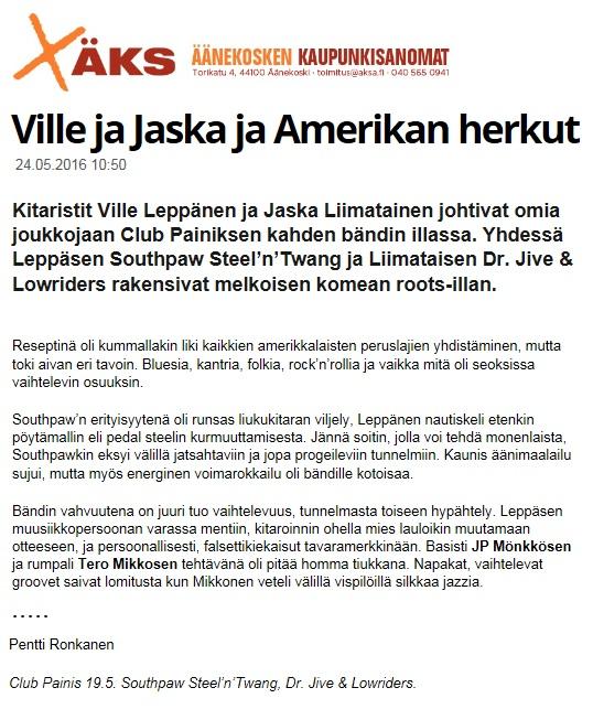 Äänekosken kaupunkisanomat 24.5.2016
